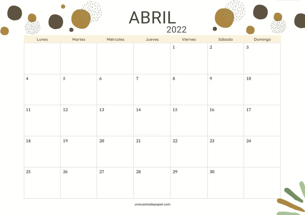 Calendario Abril 2022 horizontal color