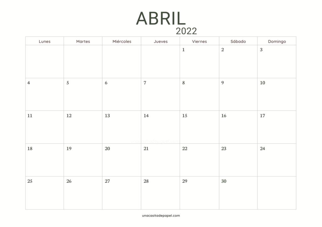 Calendario Abril 2022 horizontal minimalista