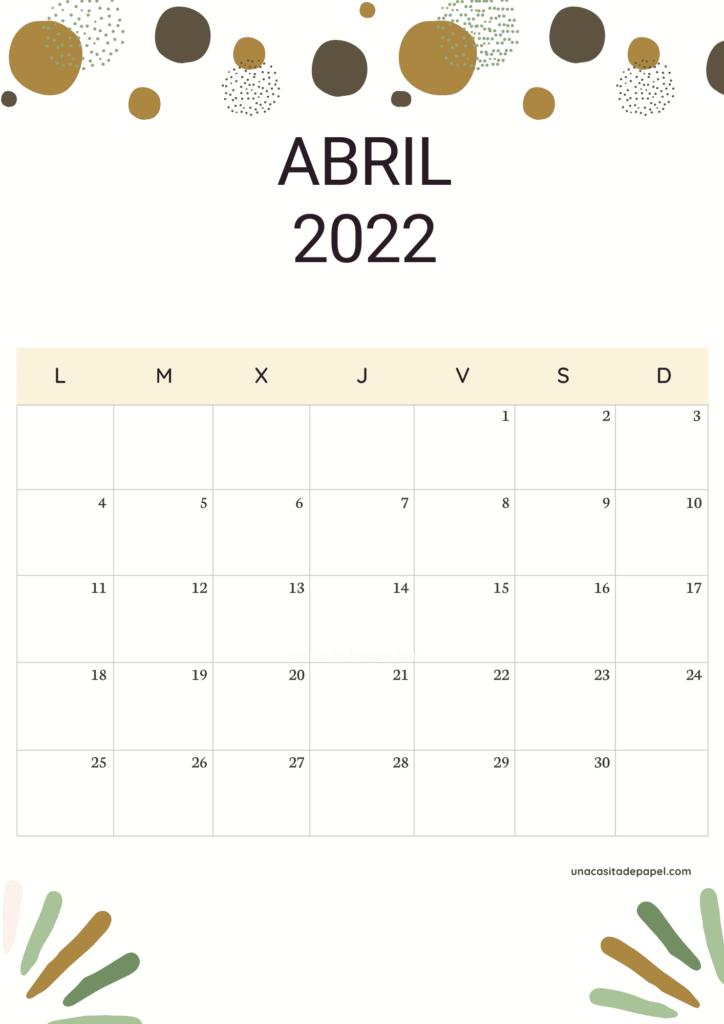 Calendario Abril 2022 vertical color