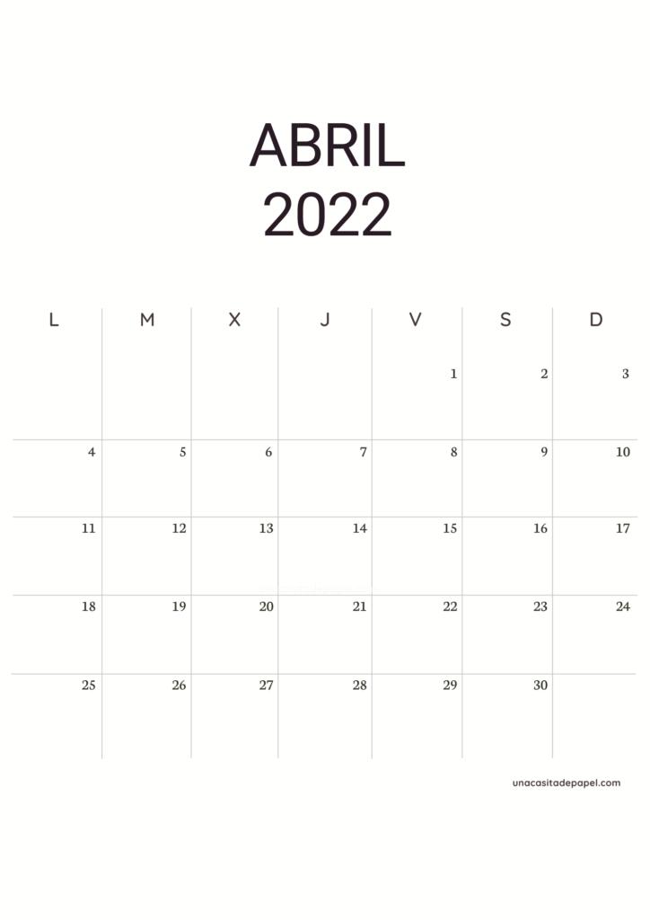Calendario Abril 2022 vertical minimalista