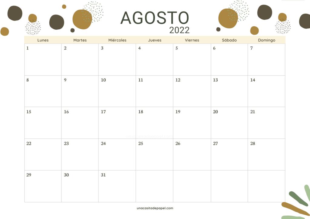 Calendario Agosto 2022 horizontal color