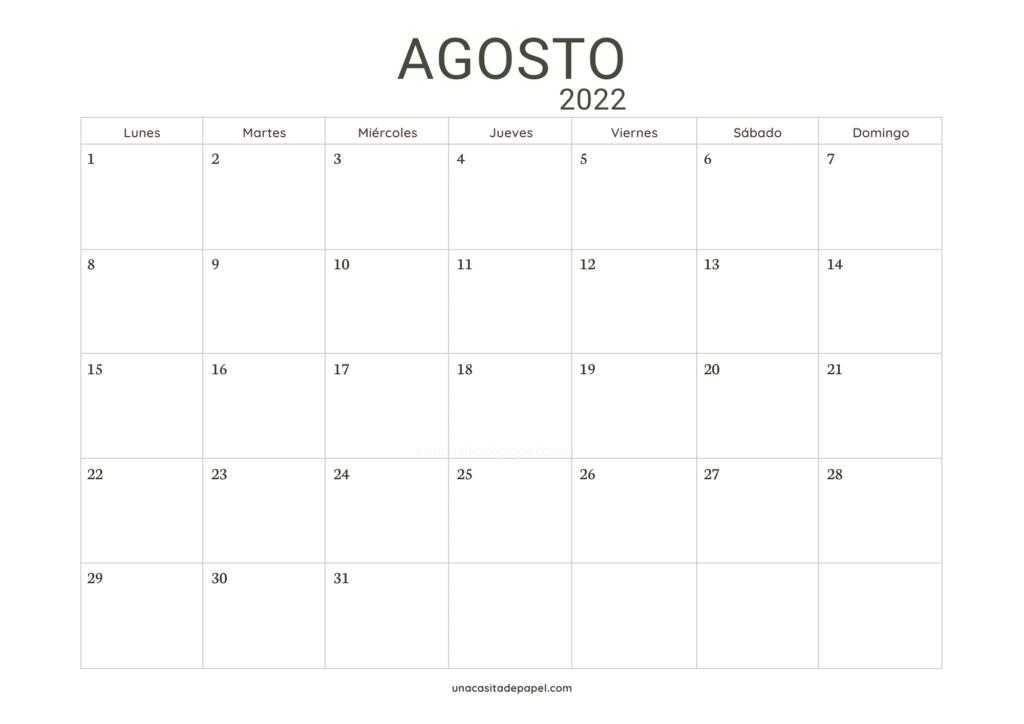 Calendario Agosto 2022 horizontal minimalista