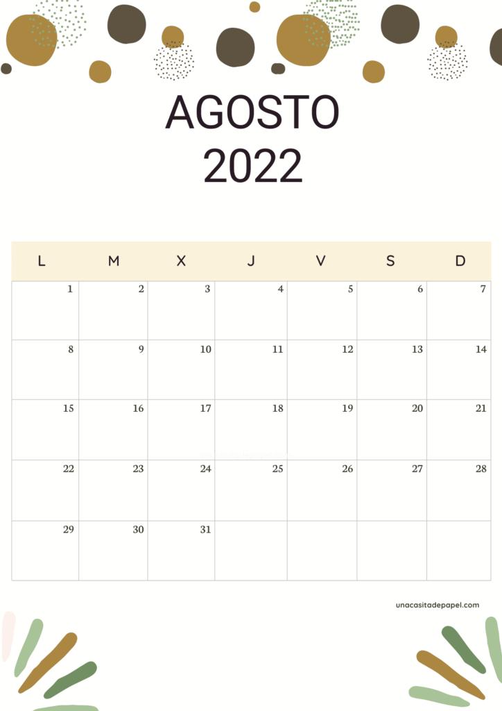 Calendario Agosto 2022 vertical color