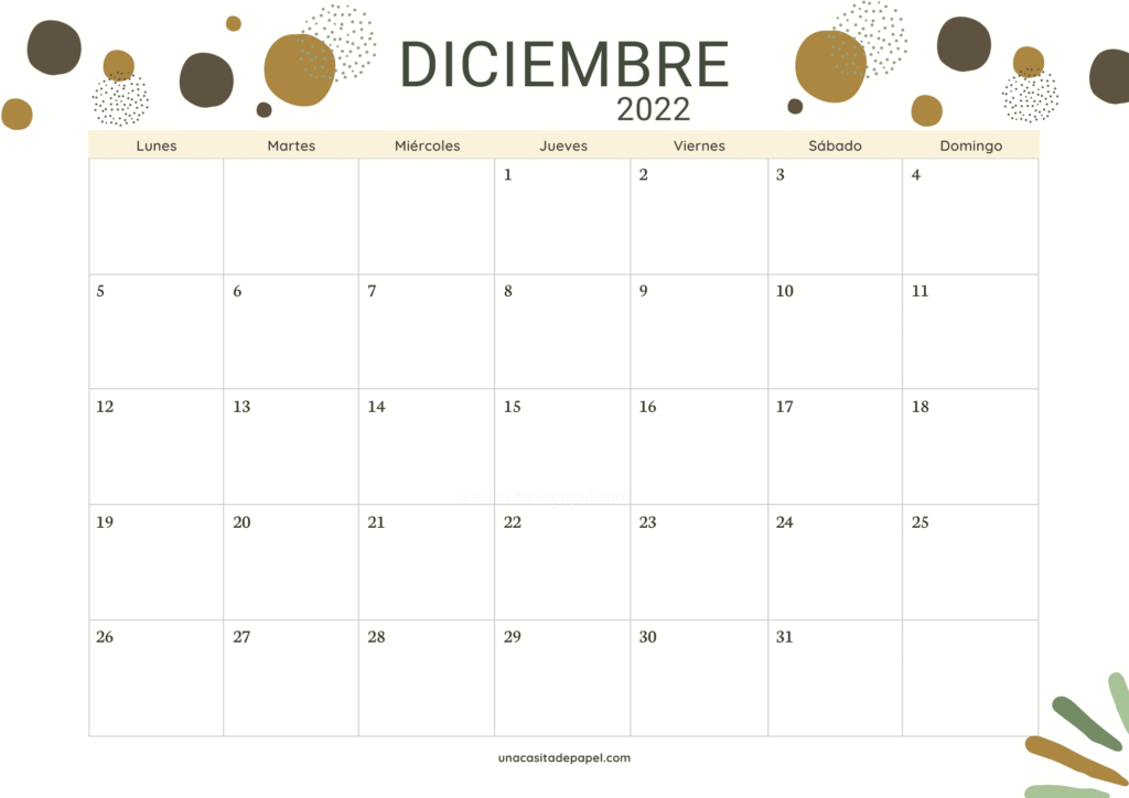 Calendario Diciembre 2022 horizontal color