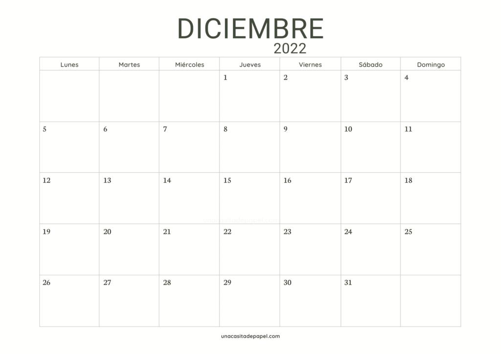 Calendario Diciembre 2022 horizontal minimalista