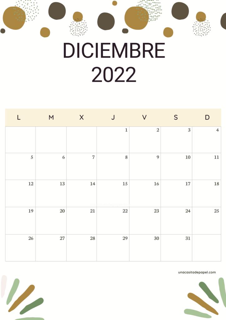 Calendario Diciembre 2022 vertical color