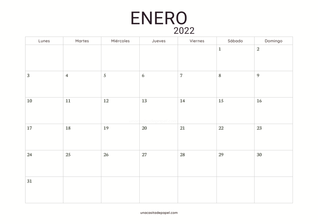 Calendario Enero 2022 horizontal minimalista