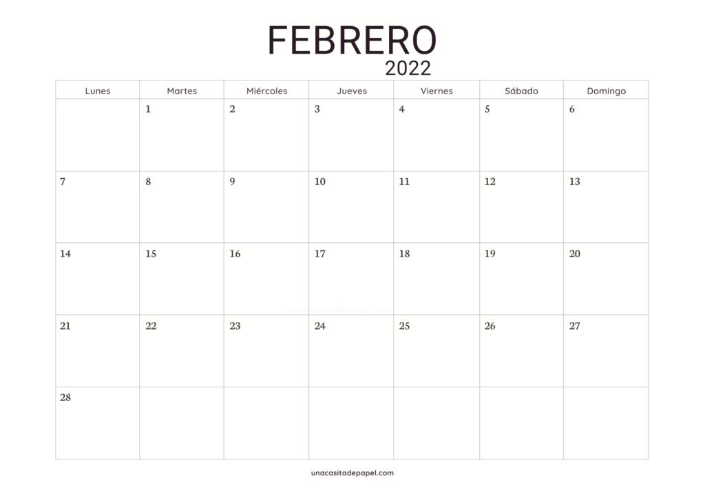 Calendario Febrero 2022 horizontal minimalista