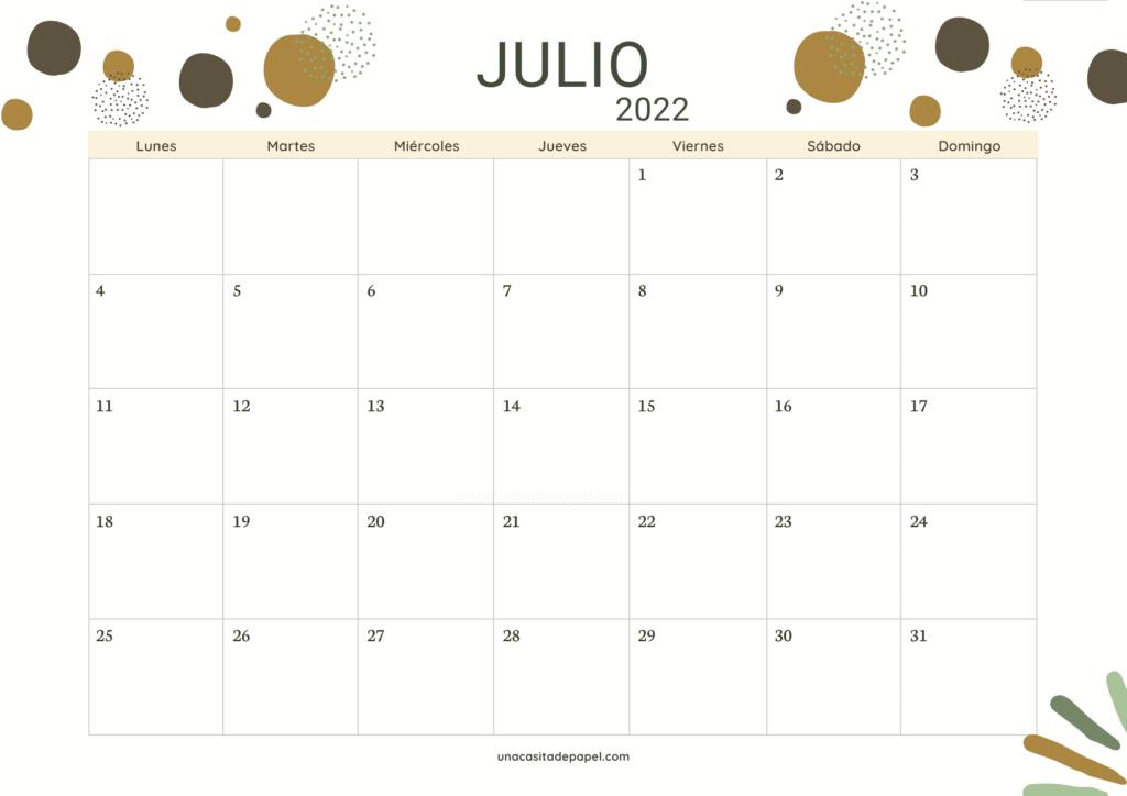 Calendario Julio 2022 horizontal color