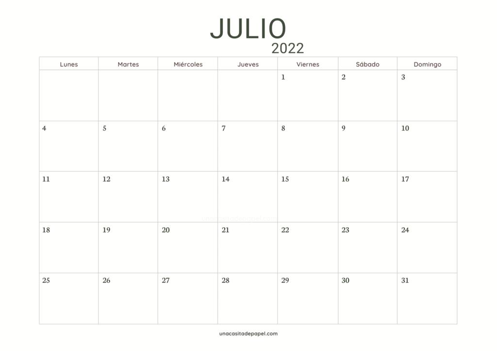 Calendario Julio 2022 horizontal minimalista