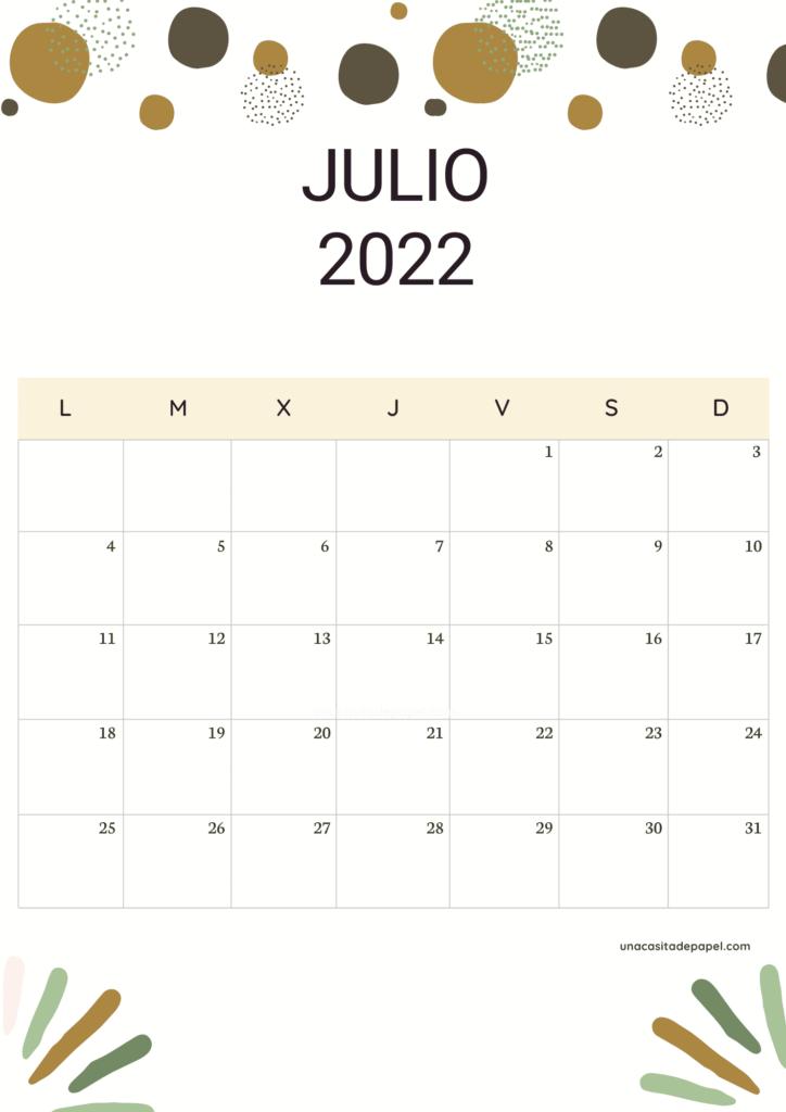 Calendario Julio 2022 vertical color