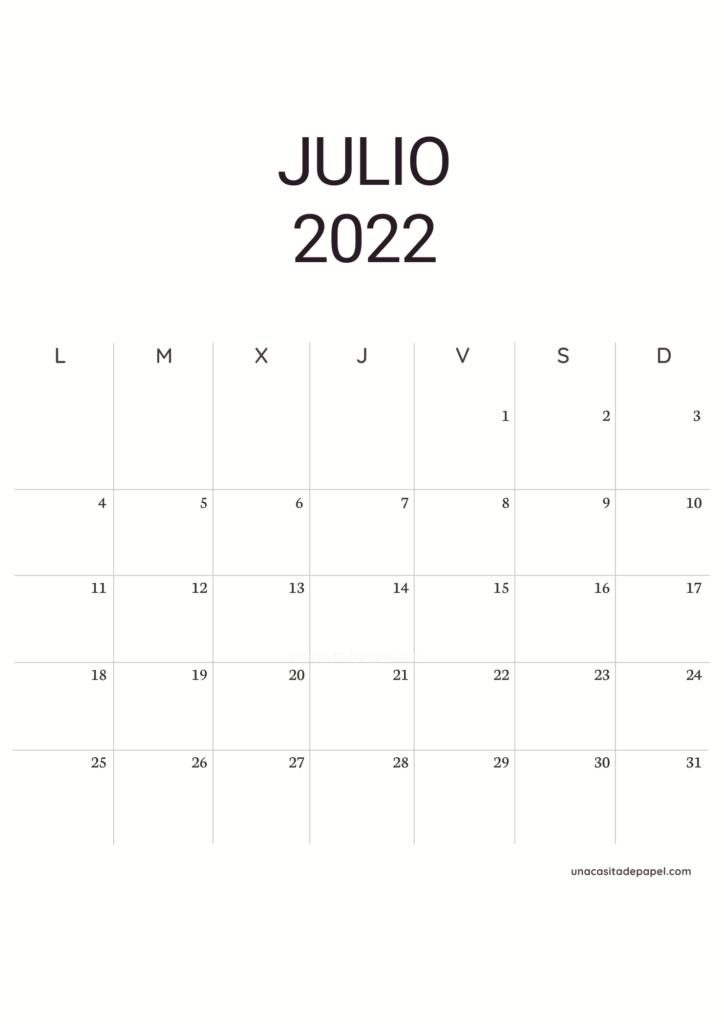 Calendario Julio 2022 vertical minimalista