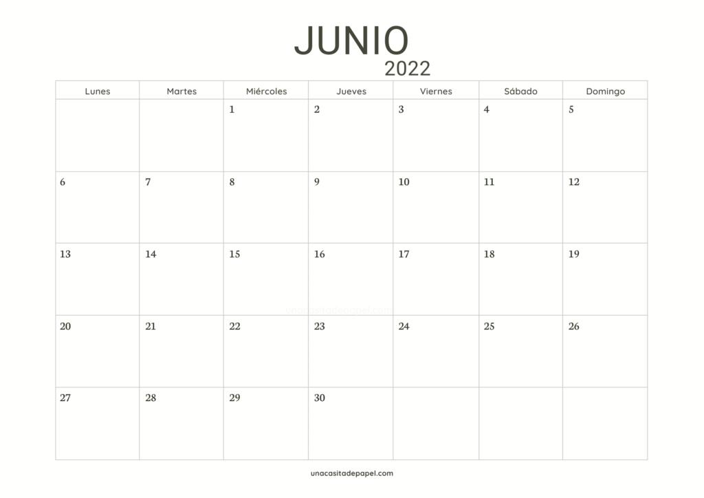 Calendario Junio 2022 horizontal minimalista
