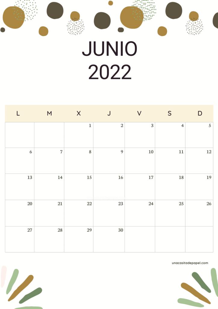 Calendario Junio 2022 vertical color