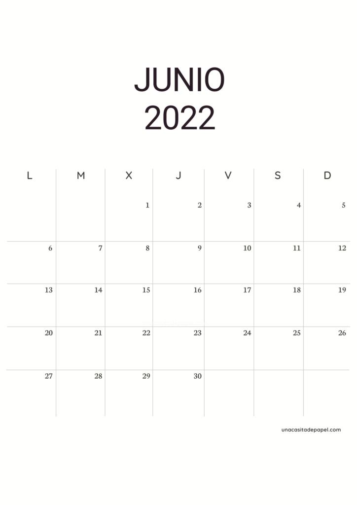Calendario Junio 2022 vertical minimalista