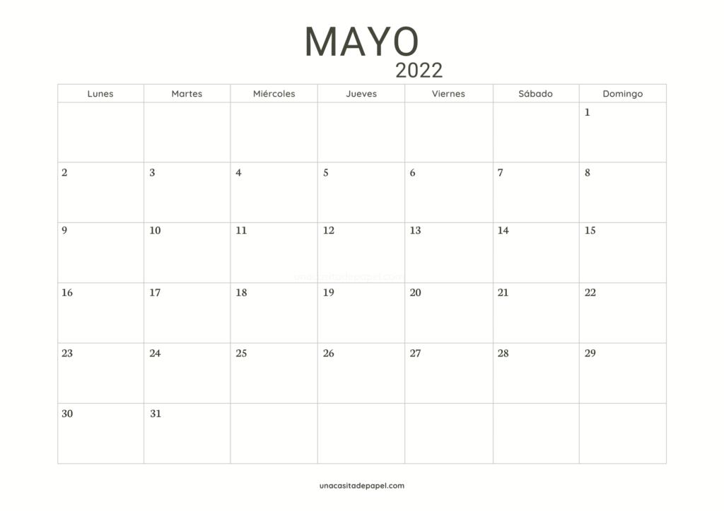 Calendario Mayo 2022 horizontal minimalista
