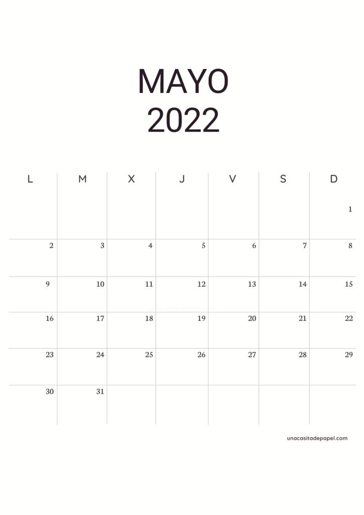Calendario Mayo 2022 vertical minimalista
