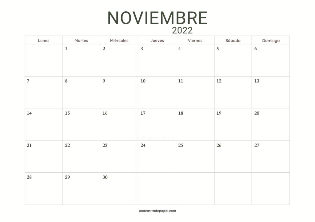 Calendario Noviembre 2022 horizontal color