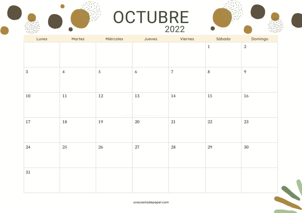 Calendario Octubre 2022 horizontal color