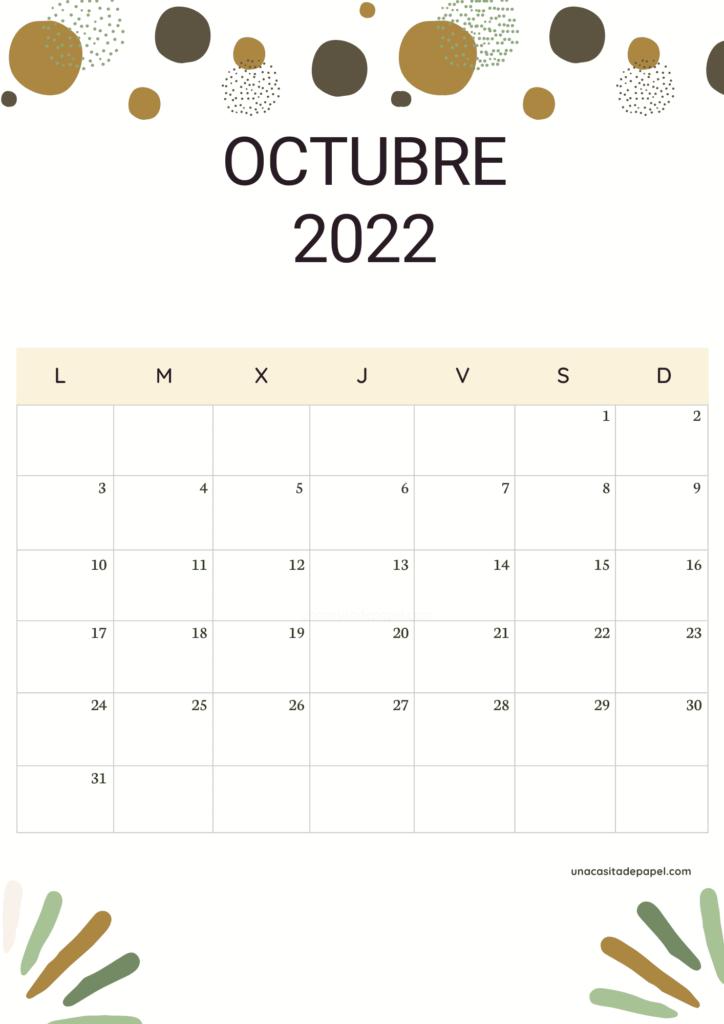 Calendario Octubre 2022 vertical color