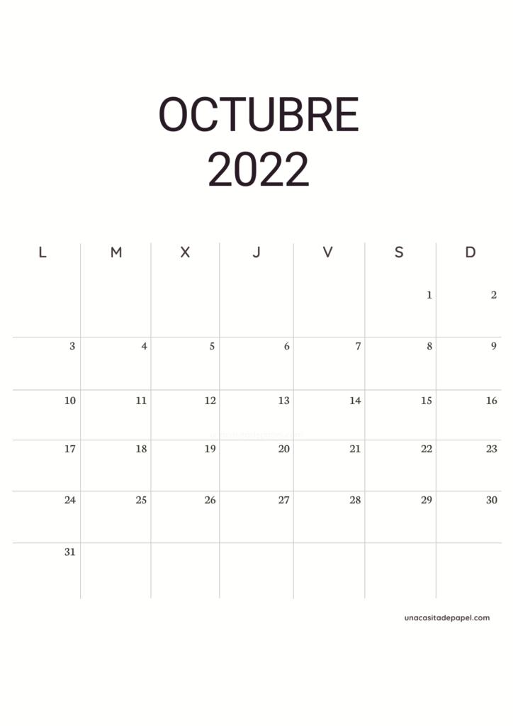 Calendario Octubre 2022 vertical minimalista