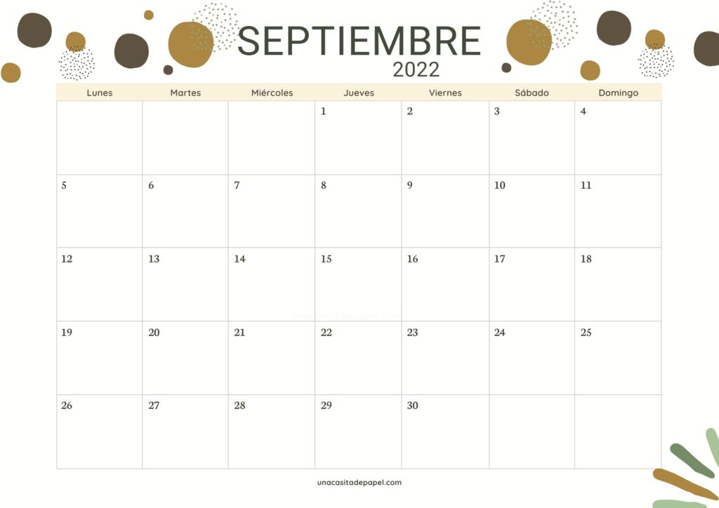 Calendario Septiembre 2022 horizontal color