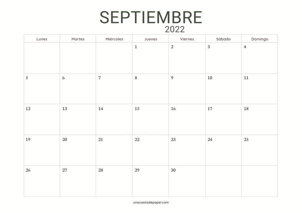 Calendario Septiembre 2022 horizontal minimalista