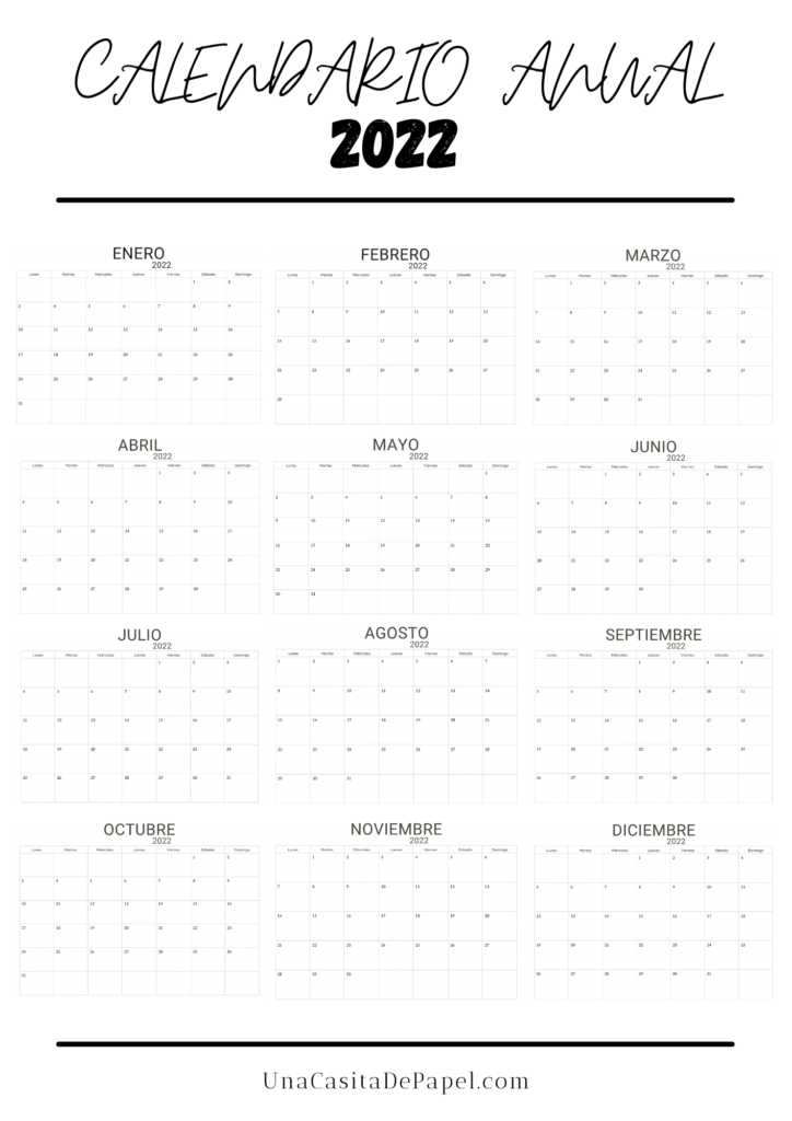 Calendario anual 2022 diseño minimalista