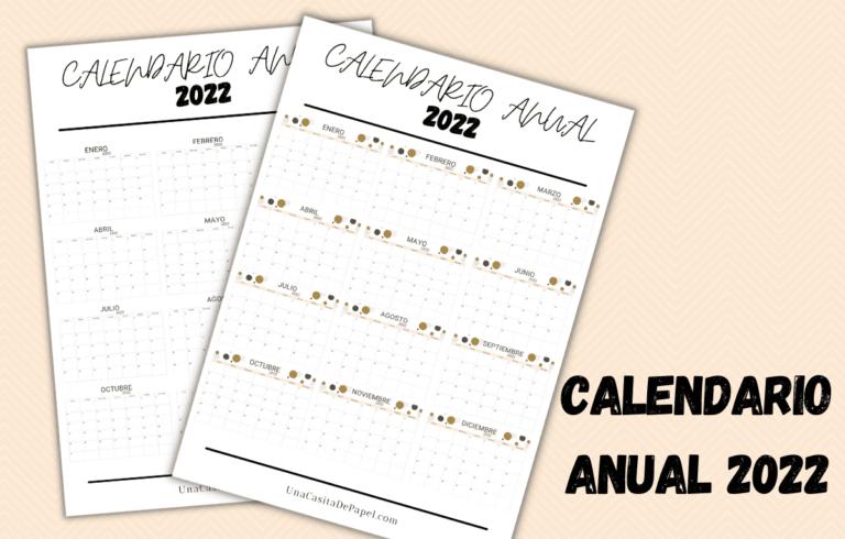Calendarios anuales 2022 para imprimir diseños minimalista y a color