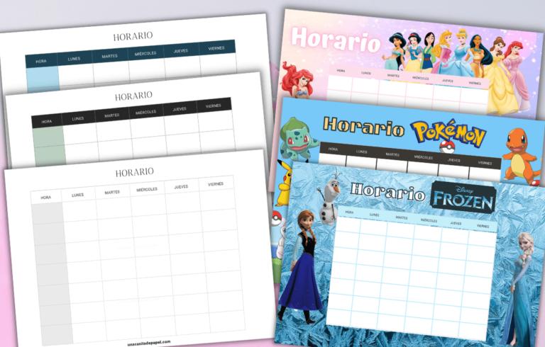 Plantillas de horarios escolares para imprimir versiones niño y adulto