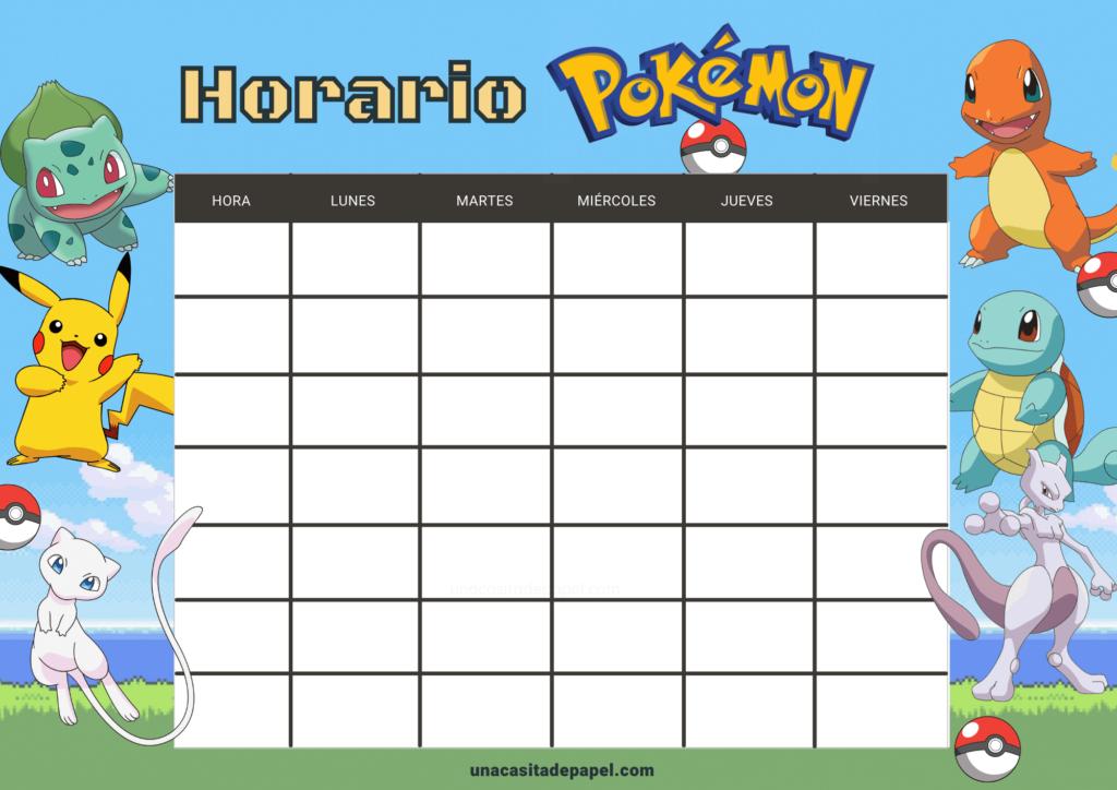 Horario de clase pokemon