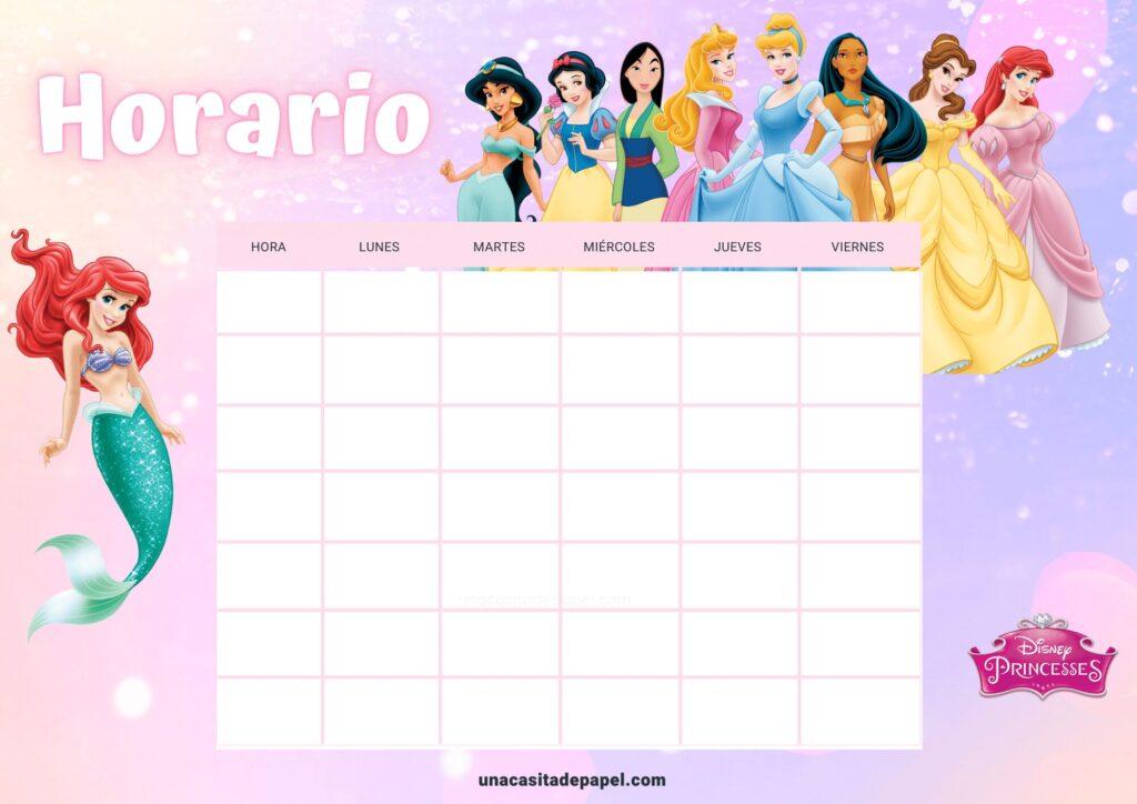 Horario de clase princesas disney